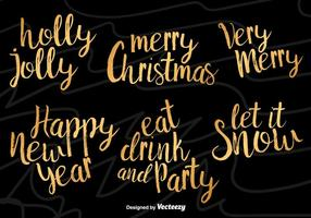 Extraer las manos leyendas grabadas tipográfico del vector de Navidad
