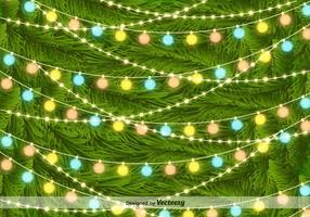 Christmas Tree Lights on Pine Needles Vector Background