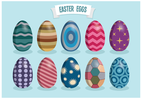 Retro Colorful Easter Eggs Vectors