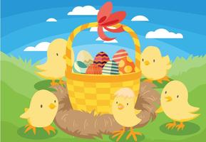 Background Easter Chick Vector