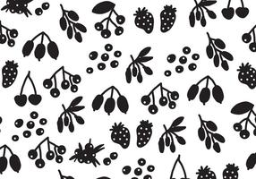 Silhouette Black Berries Vector Pattern