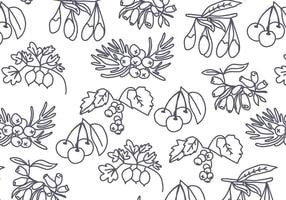 Graines d'arbres et baies Vector Pattern