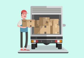 Moving van med Courier Man Vector Illustration