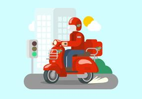 Bright Red Lambretta Illustration