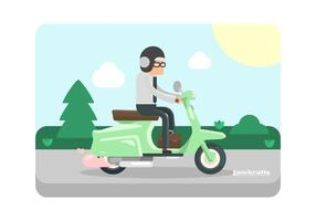 Mint Green Lambretta with Rider Illustration