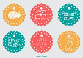 Cute Round Easter Gift Tags vector