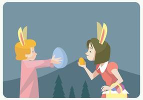 Dos niñas Caza Huevos de Pascua Vector