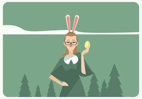Hipster Girl With Easter Egg Vector