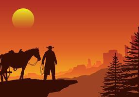 Gaucho in un selvaggio west tramonto paesaggio vettoriale