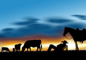 Gaucho Herding vaches Silhouette vecteur