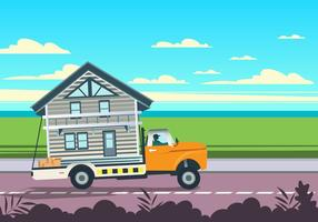 Home On Moving Truck Vector