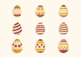Vecteurs oeufs de Pâques à plat