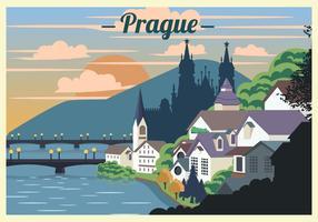 Prague Landscape Scene Vector