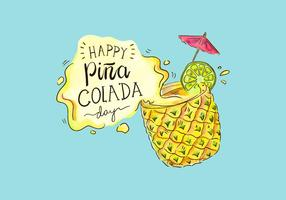 Cute Piña Colada Day Vector Background