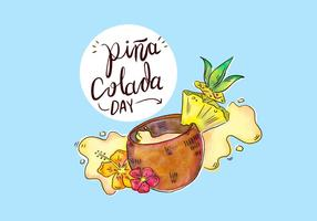 Tropical Pina Colada Drink With Splash Vector