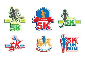 Bright 5K Run Sticker Vectors