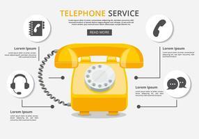 Servicio telefónico gratuito Con Los Iconos Vector