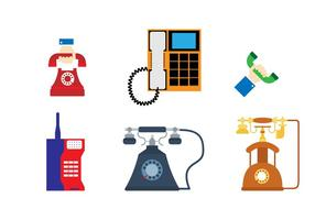 Flat Retro Phone Sticker