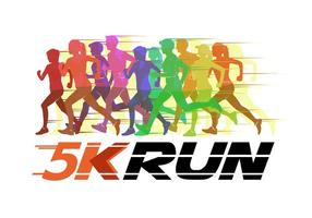 5K Running Silhouette Vector Illustration