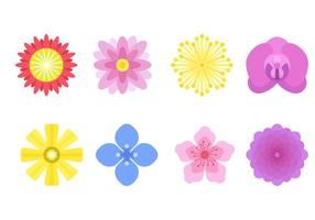 Vectores de flores planas