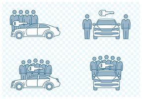 icone di car sharing vettore