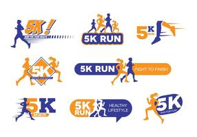 5k run logo vector