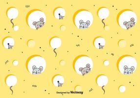 Mice In Cheese Vector Background