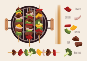 Brochette Kebab Skewers Icons Vector