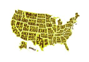 Free USA Word Map Vector