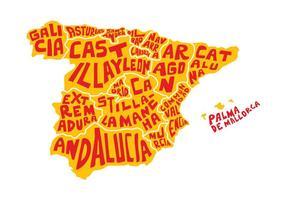 Free Spanien Word Karta Vector
