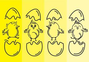 Easter Chick Line Art Vector