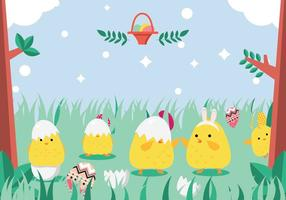 Easter Chick Playing In Grass Vector