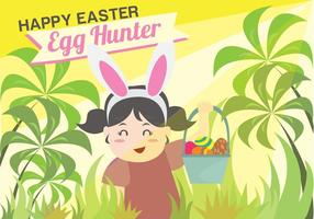 Easter Egg Hunt Kids Background Vector