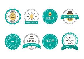 Gratis Hipster Pasen Badge Vector Collectie