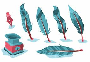 Blue Feather Pluma Vector Set