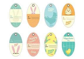 Los vectores de decoración de la etiqueta del regalo de Pascua