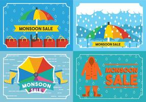 Monsoon Card Vector Set