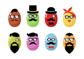 Hipster Easter Icons Vector