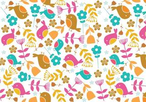 Retro Bird & Floral Illustrator Muster