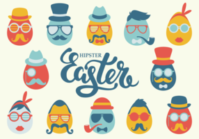 Hipster Pasen Icons Vector