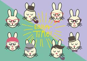 Group of Hipster Bunny Vectors
