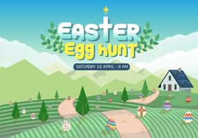 Farmyard Easter Egg Hunt Vector Illustration