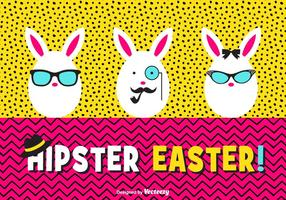 Happy Hipster Easter Eggs Vector Card