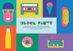 80er Block Party-Elemente Hintergrund