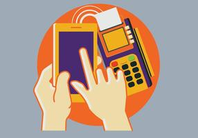 Pos Terminal Confirms the Payment by Smartphone vector