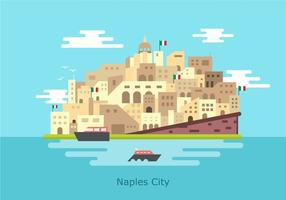 Naples historical Nouvo Castle Building Vector Flat Illustration