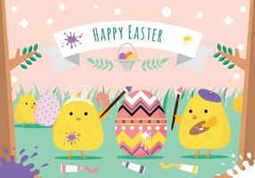 Painting Easter Eggs Vector