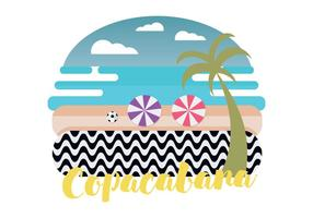 Copacabana Beach Vector Illustration