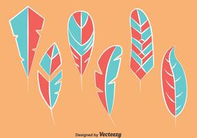 Vettori di piuma di uccello blu e rosa