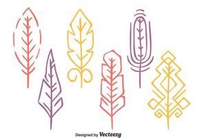 Colorful Hand Drawn Bird Feather Vectors